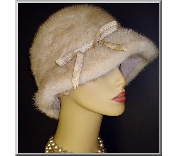 Vintage 1960s Mink Hat Real Plush Crème Silver by vintagediva60, $75.00