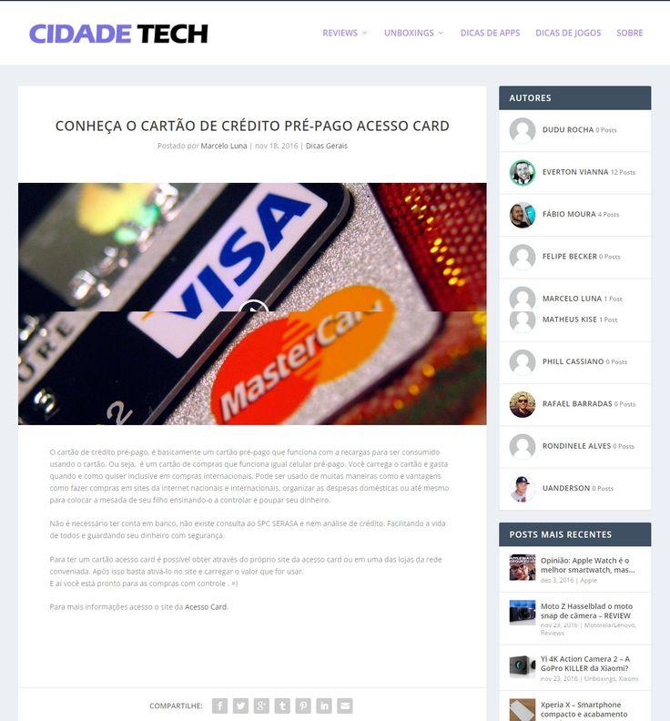 Título:Conheça o cartão de crédito pré-pago Acesso Card Veículo: Portal Cidade Tech. Data: 18/11/2016. Cliente: Acesso