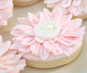 Pink Daisy Button Cookies