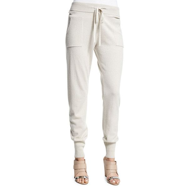 Donna Karan Cashmere Jogger Pants (9605 MAD) ❤ liked on Polyvore featuring pants, natural, jogger pants, white trousers, cashmere pants, donna karan pants and jogging trousers