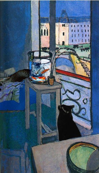 Matisse Goldfishis a cat art printrich with the blues for which he was famous, featuring one of his favorite subjects, Goldfish, and cats!Deborah Julian created this image as part of her Famous Artists Catsseries, which includes additional paintings by Matisse, Van Gogh, Dégas, Cezanne, Vuillard and Bonnard.    Here, Sam and Billy are transfixed by the colorful fish in Matisse's glass bowl. Sam's image, magnified by the water, does not seem to worry the goldfish.