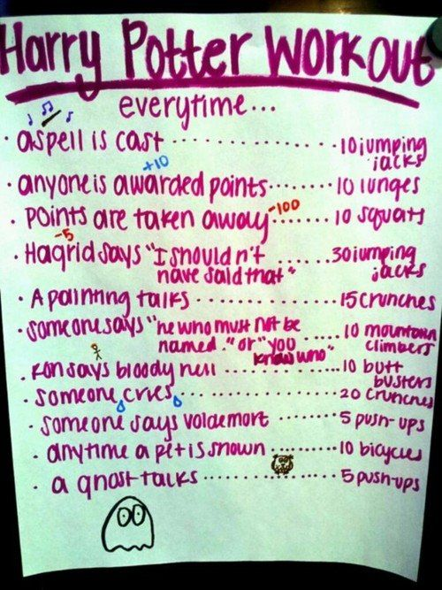 Harry Potter Workout. @Chelsea Avery. LADY DATE!: Army, Fit, Ideas, Drinks Games, Harry Potter Workout, Work Outs, Movies, Harry Potter Marathons, Watches
