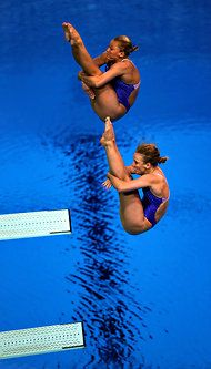 Team USA's Abby Johnston and Kelci Bryant win Silver Medal in Synchronized Diving. Olympics 2012