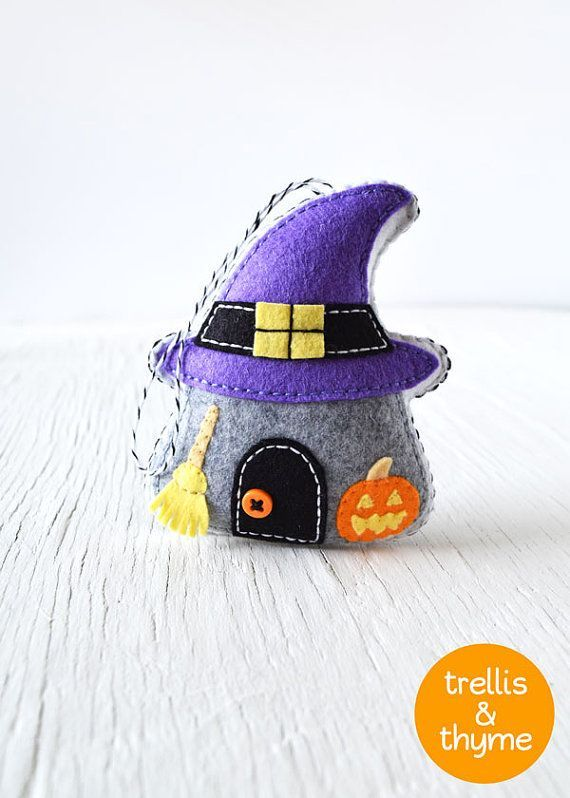 PDF Pattern - Spooky Cottage Ornament Pattern, Halloween Felt Ornament Pattern, Felt Softie Sewing Pattern