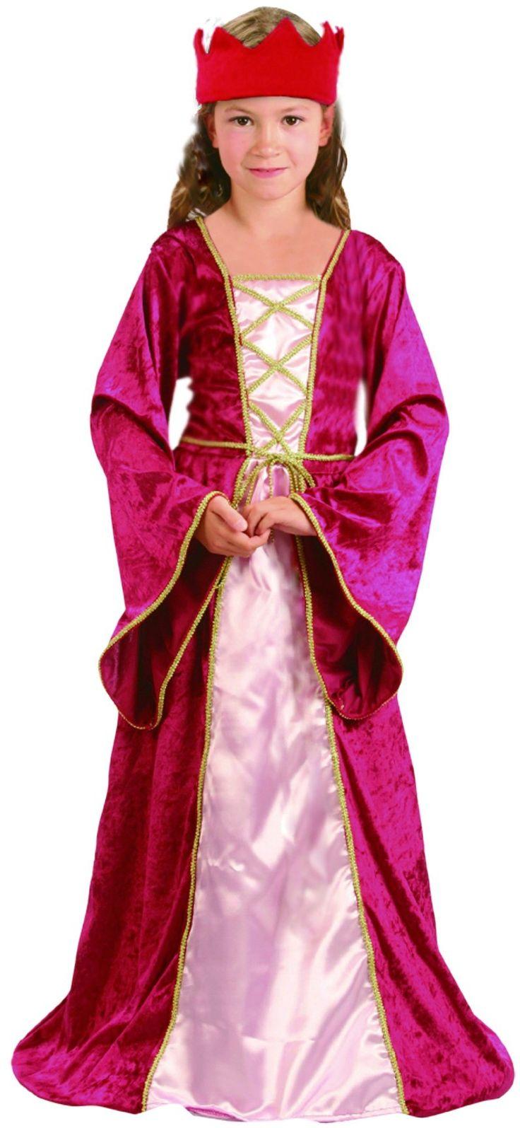 Costume regina medievale bambina: Questo costume da regina medievale per ragazza è costituito da un abito simil velluto ornato da bordi dorati e con un corpetto sul davanti. Le maniche sono svasate. Un copricapo completa...