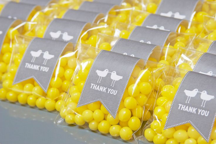 Wedding Favor Bags  Love Birds  Gray and Yellow by EslaEvents, $1.25