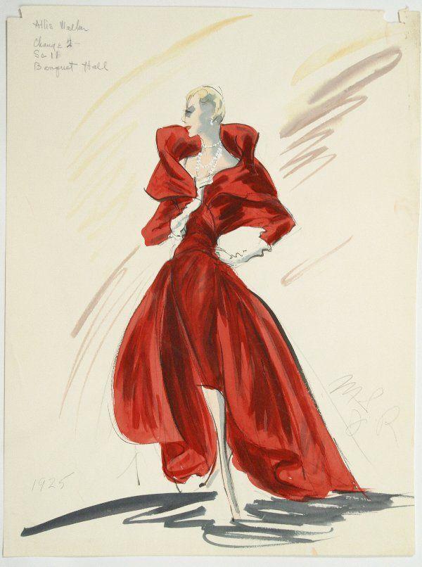 Edith Head Costumes | Edith Head Costume Design Sketch : Lot 2437