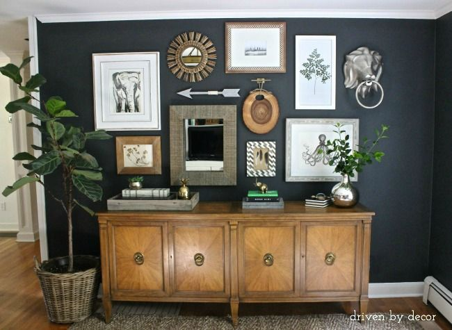 Driven by Decor - Eclectic Gallery Wall on Black Walls do this for gallery wall? with large black and white frames?