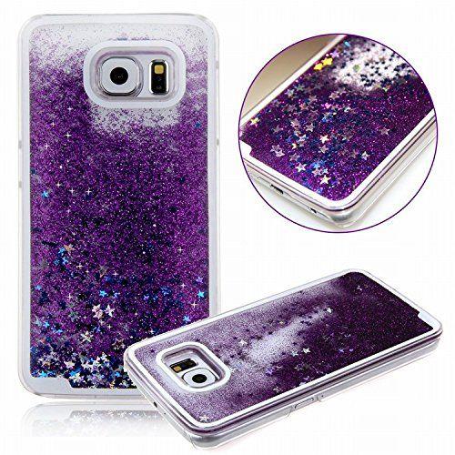 Galaxy S6 case ,E-uniq Transparent Plastic 3D Glitter Quicksand Stars Liquid Hard Case for Samsung Galaxy S6 ,Galaxy S6 Cute Case for Girls - Purple