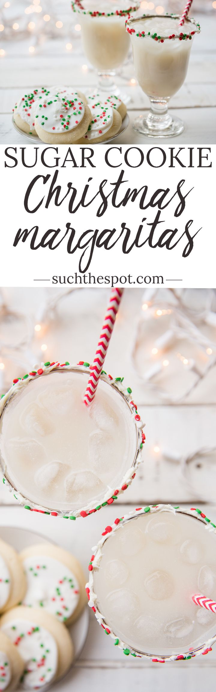 This sugar cookie margarita recipe is a ridiculously fun and festive drink to serve at your holiday cocktail party. It can be made more or less sweet according to your tastes.#Christmas#cocktail#margarita#drinkrecipe#cocktailparty#christmasparty