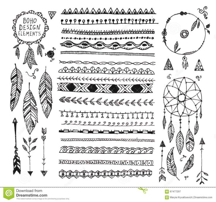 Vector Floral Decor Set, Collection Of Hand Drawn Doodle Boho ...