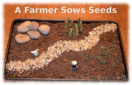 Here is a visual Bible craft to illustrate the story of when a farmer sows seeds. You will find the story in Luke 8:4-15. A farmer sows seeds into four d