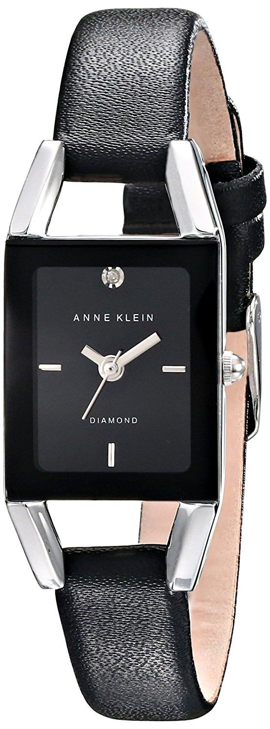 Anne Klein Women's AK/1479BKDB Diamond-Accented Dial Black Leather Strap Watch *** You can find out more details at the link of the image.