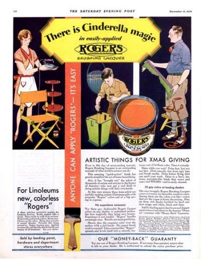 "1930 Rogers paint ad. ""There is Cinderella magic in easily-applied Rogers."" The Saturday Evening Post.Christmas Ads, Rogers Painting, Vintage Christmas, Easily Apply Rogers, Painting Ads, Vintage Painting, Saturday Evening Post, Cinderella Magic, 1930 Rogers"