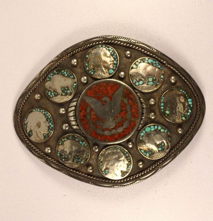 Morgan Dollar & Buffalo Nickel Turquoise & Coral Inlay Silver Belt Buckle 171.5g #Unsigned