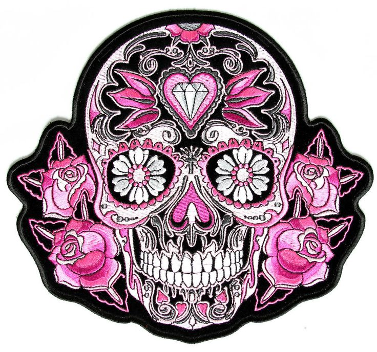 Sugar Skulls | Pink Roses Sugar Skull patch, embroidered iron on patch