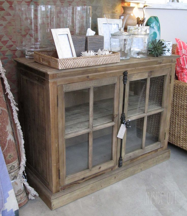 In Stock - Sideboard in Bleached Weathered Pine with Glass Doors and Adjustable Shelves - 1160 x 500mm - Inside Out Home Boutique - Please check stock availability