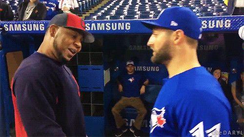 05/08/2017: Cleveland @ Toronto Blue Jays-Kevin Pillar greets Edwin Encarnacion as he makes his return to Toronto (Source: Greg Ross, Sportsnet) Tumblr   Patreon
