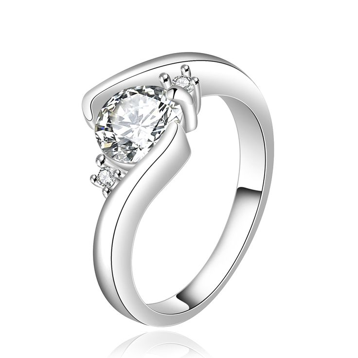 JXN495 Top Quality Beautiful Flower Silver Plated Women Rings RomanticStyle Contravted Jewelry Zirconia Wedding Birthday Gifts