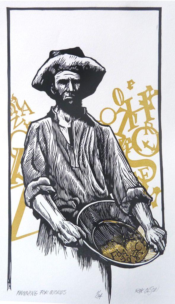 Panning for Words ~ Linocut, 8.25 x 15.25 inch ~ Rik Olson
