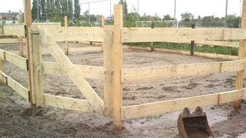 Dit is een paddock, waarin de paarden losgegooid worden. Het is erg leuk om te zien hoe ze dan gaan rennen en rollen.