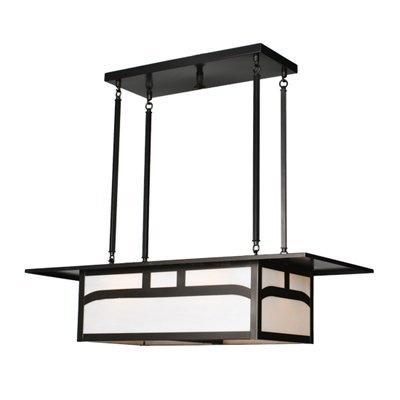 Meyda Tiffany Custom 82507 4 Light Oblong Pool Table Light, Craftsman Brown