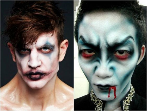 Halloween Make-up Ideen maenner-gruselige-gesichter