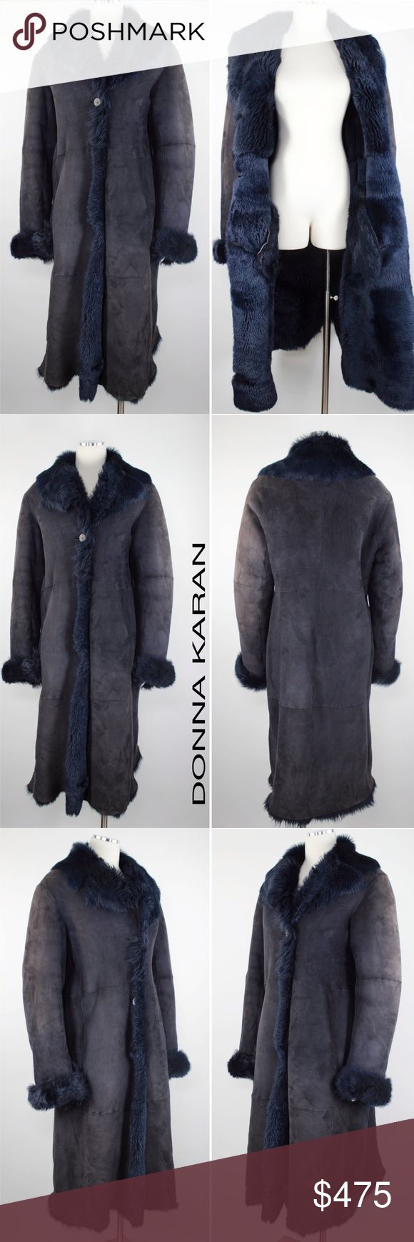 """Donna Karan Toscana Fur Lamb Shearling Duster 861 Donna Karan Signature Women's Coat Royal Blue Toscana Fur  Lamb Leather Shearling Duster Coat.  Hidden Front Pockets. 3 Button.  Can be Cuffed Retails $2,500 Size: M Medium  Shoulder: 19.5""""  Sleeves: 28""""  Pit to Pit: 21.5""""  Length: 45.5""""  Condition: Loved. There is a tear near the front hem.  Has slight discoloration on shoulder.  Priced Accordingly.  Material: 100% Lamb Shearling Cut #: 5590 Care: Dry Clean WT: 4 CSKU: 861; 8 All…"""