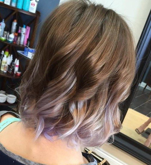 I think I'll start off with this. light brown hair with silver and lavender balayage