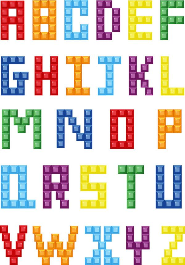 Abecedario vectorizado con estilo Lego - Puerto Pixel | Recursos de Diseño