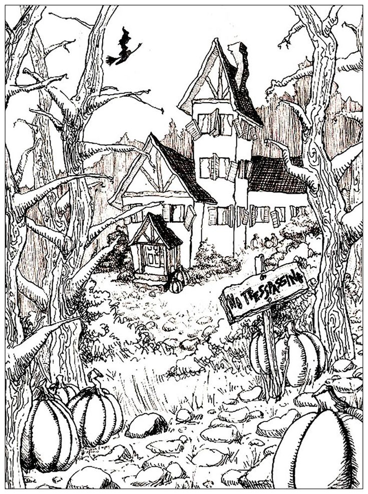 Haunted house and pumpkins Halloween Coloring Pages for