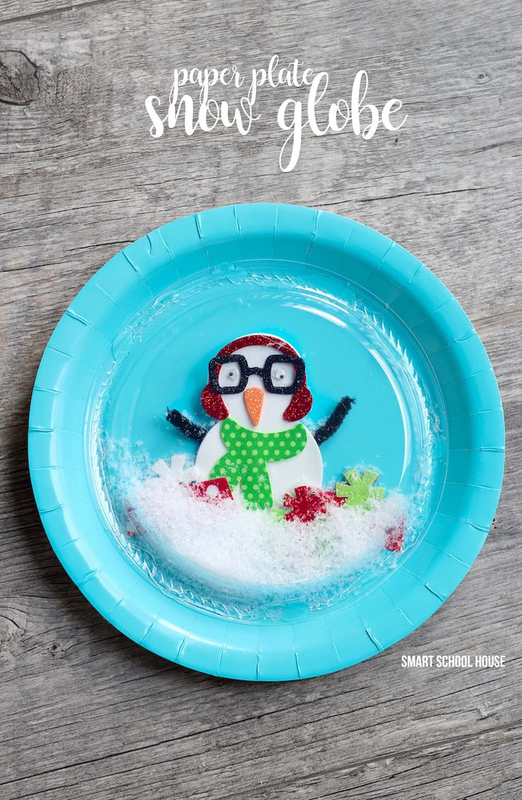 1 Paper Plate And Plastic Snow Globe Idea For Kids Winter Craft