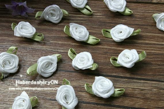 R21 FREE SHIP 450pcs Satin Ribbon White rose by haberdasheryCN, $16.00