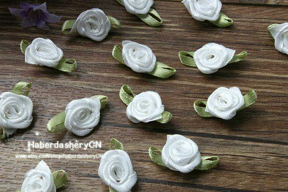 R21 FREE SHIP 450pcs Satin Ribbon White rose by haberdasheryCN, $16.00