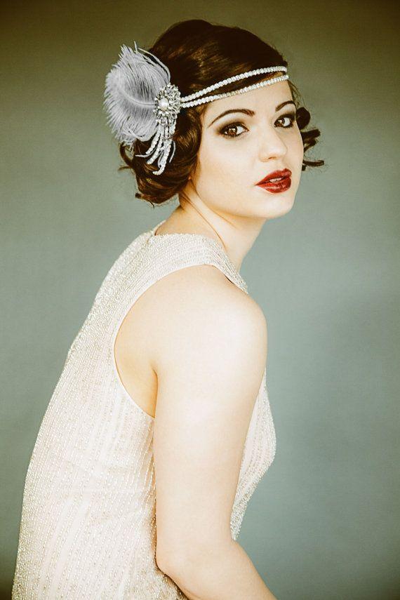Flapper Stirnband, Headpiece, Bridal Haarteil, The Great Gatsby, Vintage 20er Jahre Party Stirnband Roaring 20er Jahre Gatsby Hochzeit Perle Feder 2 103