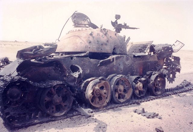 Over a thousand abandoned and destroyed tanks, armoured vehicles, cars, buses and trucks litter Highway 80 - the Highway of Death - between Basra and Kuwait