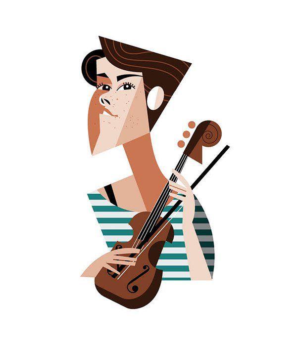 Cincinnati Magazine| Speak Easy: Caroline Shaw, Pulitzer-Prize-Winning Violinist| Illustration by Pablo: