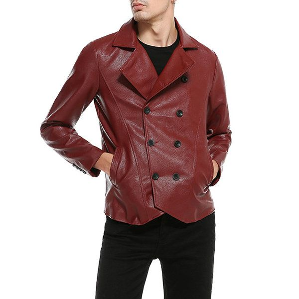 Korean Style Solid Color Double Breasted Faux Leather Jacket for Men