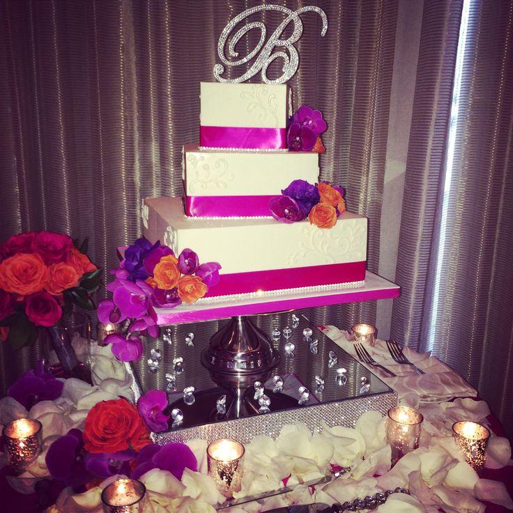 Wedding cake - Fuscia and orange wedding #sdweddingsbygina #wedding #diamond #weddingcake #brightcolors