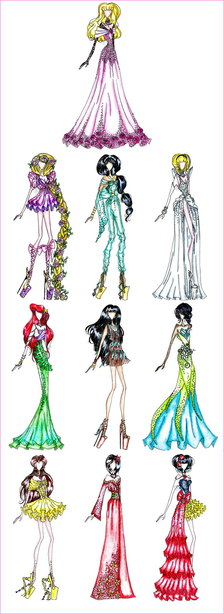 Disney Princess Fashion by ~khIIlver147 on deviantART - More stunning fashions based on the Disney girls! <3