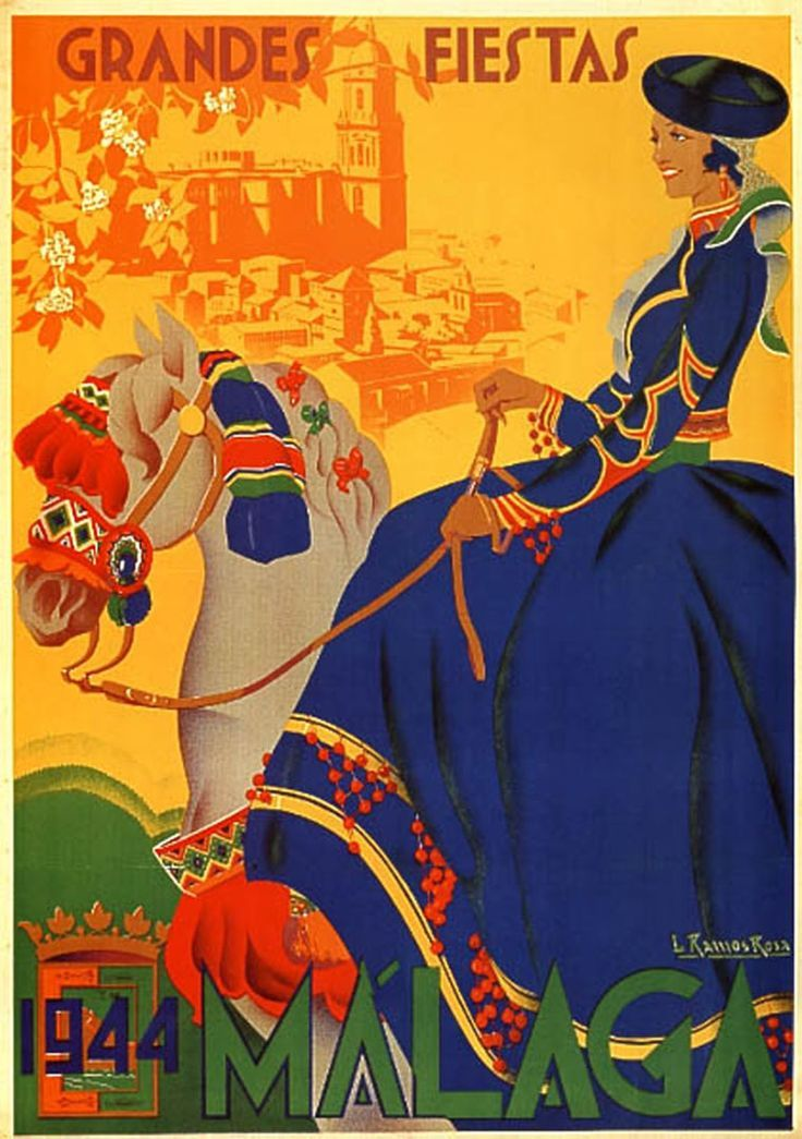Malaga, Spain _________________________ #Vintage #Travel #Poster
