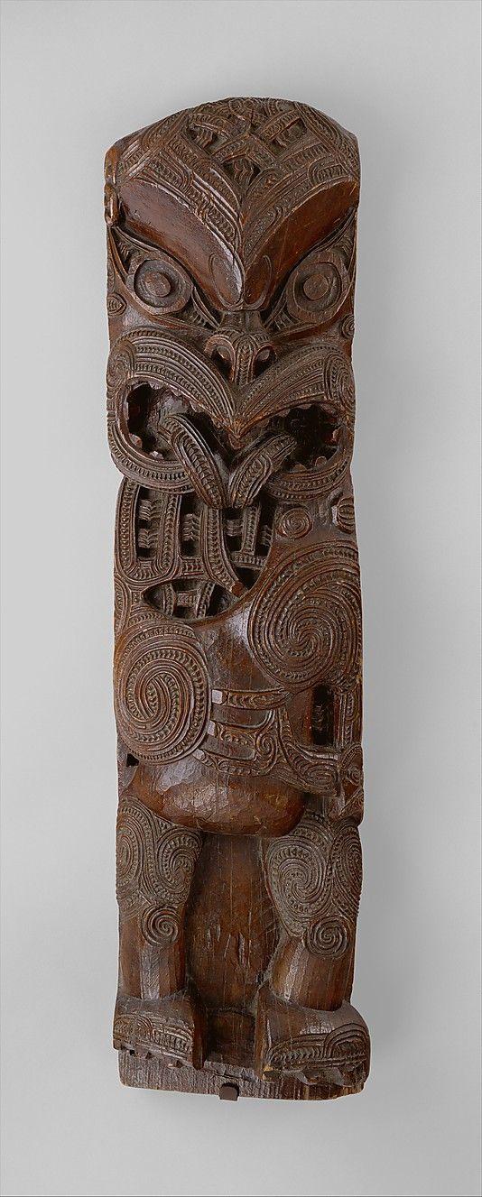 ca 1800; wood house post figure, Maori people of New Zealand