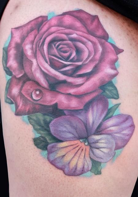 632a120f910a6 Rose and Violet tattoo by Katelyn Crane : Tattoos | Tattoos | Violet ...