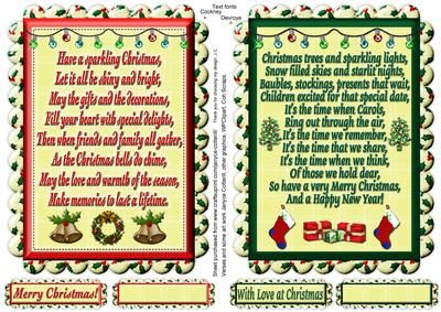 "Two Christmas Verse Toppers on Craftsuprint designed by Janyce Cotterill - Here are two more of my verse toppers. This time with a Christmas theme. They measure when printed out approx 7""x5"" There is a blank greeting tag for your own message for each verse and another with a greeting one - Verse 1 has Merry Christmas! Verse 2 has With Love at Christmas. I have applied a slight shadow to the outline of each verse and greeting tile so it is easier to see the edges for cutting the verse…"