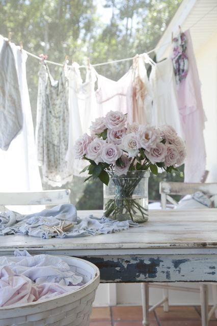 by Fleaing France: Clothing Line, Shabby Chic Style, Summer Day, Cottage, Pink Rose, Vintage Linens, Flowers, Laundry, Vintage Living