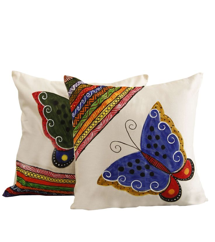 Butterfly Set Of 2 White Cotton Hand Painted Cushion Covers