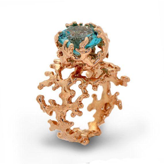 CORAL Blue Topaz Engagement Ring 14k Rose Gold by arosha on Etsy