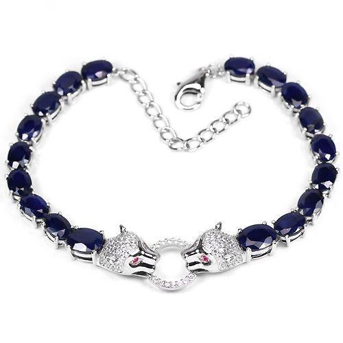 GENUINE BLUE SAPPHIRE & WHITE-PINK CZ STERLING 925 SILVER PAIR TIGER BRACELET 9