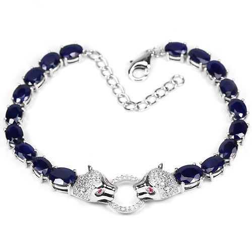GENUINE BLUE SAPPHIRE & WHITE-PINK CZ STERLING 925 SILVER PAIR TIGER BRACELET 9