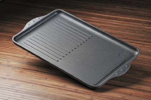 Swiss Diamond Nonstick Double-Burner Grill/Griddle Combo by Swiss Diamond. $219.99. Made in Switzerland. Ranked #1 nonstick cookware by Consumer Reports (2012). Ergonomic handles are oven-safe up to 500*F. Patented nonstick coating reinforced with real diamond particles (PFOA-free). Ideal for a lifetime of healthy eating: no oil needed for cooking. Get the best of both worlds: an electric griddle and a grill pan. The double-burner grill/griddle combo has a 17 x 11 in...